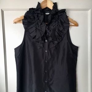 Button-up silk blouse with ruffled collar